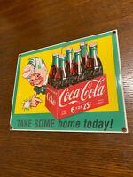 Vintage Coca Cola Sprite Boy W/ 6 Pack Bottles Porcelain On Steel Soda Pop Sign