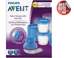 AVENT BREAST MILK STORAGE CUPS 180ML 10 PACK REUSABLE CONTAINERS