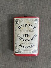 Dupont Superfine Fff Gunpowder Old Can Tin Black Powder Indian Delaware 1924