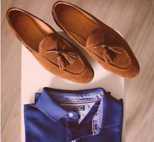 Handmade men dress moccasin shoes, men beige suede shoes, slip on wear shoes men