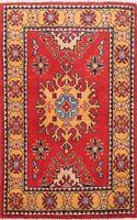 Classic Super Kazak Wool Hand-Knotted Red/Orange Area Rug Oriental 2x3 Carpet