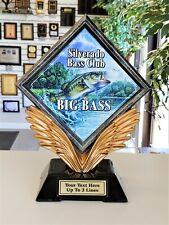 "Bass Fishing Trophy Large Resin Diamond 9"" Tall Free Text P*55409Gs Medium Award"