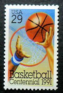 2560 MNH 1991 29c Basketball James Naismith shooting hoop dreams dribbling balls