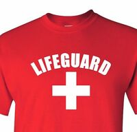 Lifeguard T-shirt Red Gray White Tee YMCA Pool Staff Lifesaver Halloween Costume