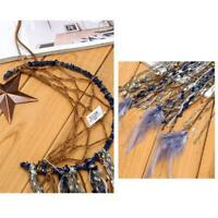 Handmade Blue Feather Dream Catcher Moon Star Hanging Wall Home Decor Ornament