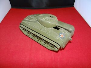 Vintage 1950s - 60s Marx Army Tank Lrg. plastic friction VG cannon playset