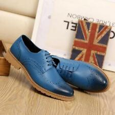Business Men's Brogues Leather Shoes Wingtip Pointed Toe Lace Up Dress Formal