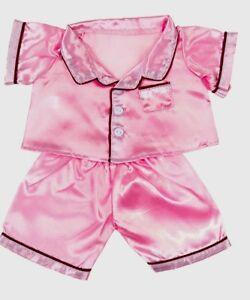 "Teddy Bear PINK SATIN PAJAMAS PJs Costume CLOTHES Fit 14-18"" Build-a-bear !NEW!"