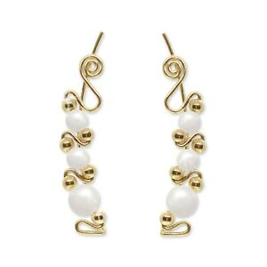 Ear Climbers Ear Crawlers Sweeps Earrings Gold with Swarovski White Pearls #243