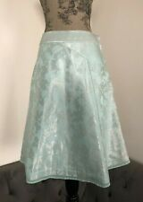 EUC Marc Jacobs Skirt Silk blend Metallic Floral Jacquard A-Line Mint Blue Sz M