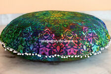 Bohemian Mandala Round Pom Pom Floor Cushion Cover Couch Paisley Cotton 32x32