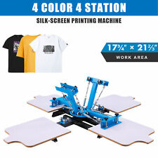 Screen Printing Machine 4 Station Silk Screen Press For 4 Color T Shirts Amp More