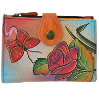 Anuschka Leather Anna Ladies Wallet 2 Fold  ID CC Coin Bills Rose Butterfly