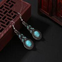 naturelle turquoise boucles d'oreilles tibetan silver beaded cristal bleu