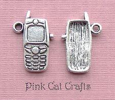 5 x MOBILE PHONE Tibetan Silver Charms Pendants Beads