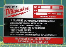 Milwaukee Replacement Repair Parts, Nameplate Service 12-99-1875