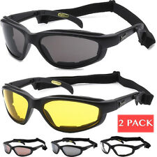 2 PACK Choppers Motorcycle Riding Goggles Padded Sports Sunglasses Biker Strap