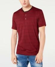 Inc Men's Striped Henley Short Sleeve T-Shirt (Wine, S)