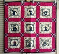 "Millennial Quilt with Humorous Theme Brightly Colored All Cotton 26"" x 25"""