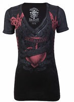 Rebel Saints AFFLICTION Womens T-Shirt MOON CHILD Biker Sinful S-XL $40
