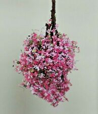 Dollhouse Miniature - Fairy Garden Large Hanging Flower Basket Handcrafted 1:12