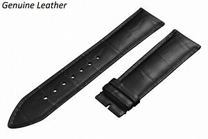 Genuine Leather BLACK Strap For RAYMOND WEIL Watch Band Buckle Clasp 12-24 Mens