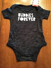 NEW Size 0-3 Months **BUDDIES FOREVER Black & Gray BODYSUIT