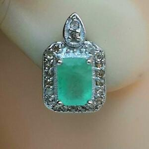 Vintage 2.80ctw Colombian Emerald & H-SI Diamond 925 Silver Stud Earrings