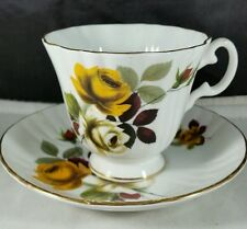 Royal Grafton English Bone China Teacup and Saucer Orange and Off White Roses