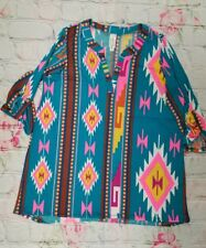Now N Forever V-Neck Oatmeal Aztec Print Pocket Cuff Tunic top dress XL -a7