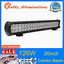 "20"" IN 126W COMBO LED WORK LIGHT BAR CREE OFFROAD DRIVING SUV ATV 4WD TRUCK 120W"