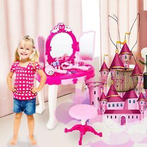 26 Pcs Kids Pretend Vanity Dressing Makeup Table Princess Mirror Lights Music