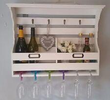 Shabby Chic Muro Armadio Scaffale Unit Bottiglia Vino in Vetro Supporto Ganci Di Stoccaggio a casa