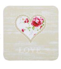 Set di 4 Tè impressionare Tazza Caffè Tazza Bevande Sottobicchieri-Love fiori forma cuore