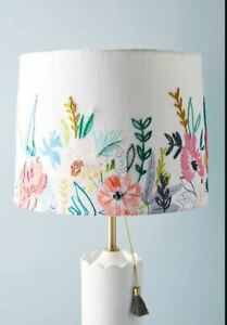 Alicia Galer X Anthropologie Juliette Embroidered Lamp Shade Vibrant Garden NWT
