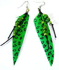 Boucles d'Oreilles Plume Véritable Ethnique Bijoux Bohème vert  Perles vertes