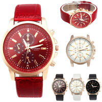 Fashion Men's Watch Faux Leather Band Quartz Wrist Watch Unisex Sport Watches