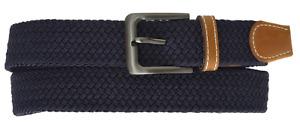 Men's Elastic Stretch Belt Gunmetal Buckle Casual Golf Jeans New