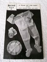 ORIGINAL, VINTAGE, 1940's,  BESTWAY KNITTING PATTERN, No.2213 PRAM SET for BABY