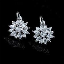 925 Silver Filled Women Jewelry Cute Flower Elegant Crystal Ear Stud Earrings