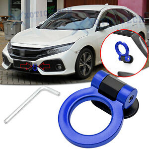 Blue Sport Track Style ABS Plastic Tow Hook Ring Look Decoration For Honda Civic