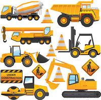 Construction Vehicles - 14 Pack Wall Stickers Tractor Digger Dumper Truck Crane