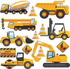 Véhicules de construction - 14 Pack wall stickers Tracteur Digger benne camion grue