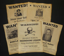 Set of 5 Moonshine Wanted Posters Popcorn Sutton, Big Haley, Hatfield, more
