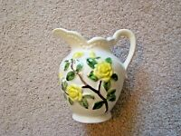 "Vintage Ceramic Pitcher Yellow Roses Hand Painted Raised Handled 5.5"" Excellent"