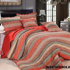 AU Quilted Vintage Cotton Bedspread Coverlet Throw Blanket Queen King Size Set Orange 1pcs