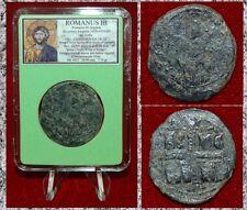 Ancient Byzantine Empire Coin ROMANUS III JESUS CHRIST Holding Book of Gospel