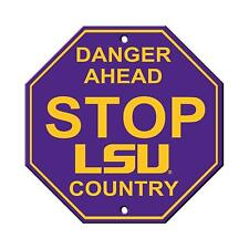 LSU Tigers STOP SIGN Danger LSU Country 12x12 Sign FAST SHIP