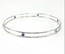 Tiffany & Co. Peretti Blue Sapphire By The Yard 18k WGold Double Wire Bangle