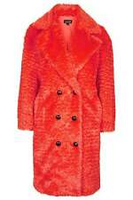TOPSHOP SIZE 8-14 FAUX FUR RED BLOOD ORANGE FESTIVAL COCOON COAT WOMENS LADIES